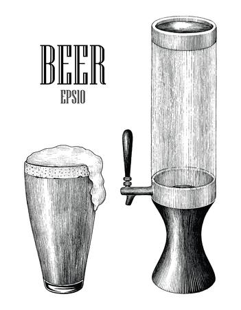 Boccale di birra e torre di birra vintage disegnare a mano stile di incisione isolato su sfondo bianco