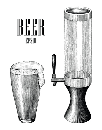 Beer mug and beer tower vintage hand draw engraving style isolated on white background