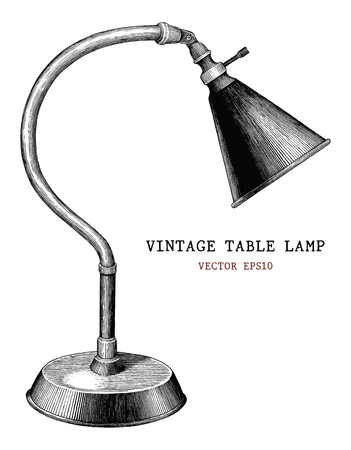 Vintage table lamp hand draw vintage engraving antique style isolated on white background Ilustração