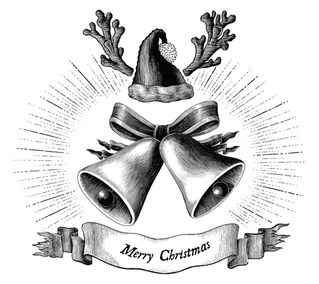 Antique engraving illustration of Christmas black and white clip art concept isolated on white background Standard-Bild - 116950534