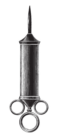 Antique of medicine syringe illustration engraving vintage style isolated on white background