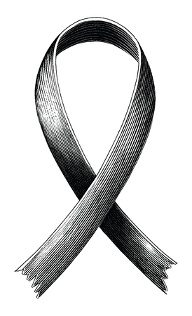 The red ribbon of AIDS symbol hand draw vintage engraving style isolated on white background Ilustração