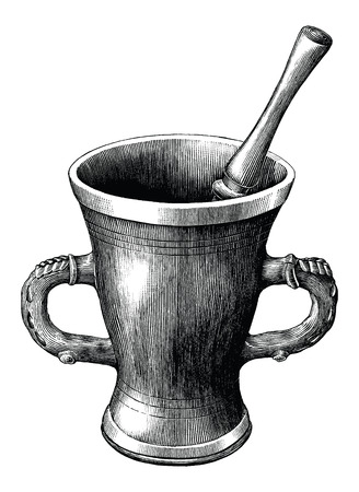 Mortar and pestle vintage engraving illustration isolated on white background