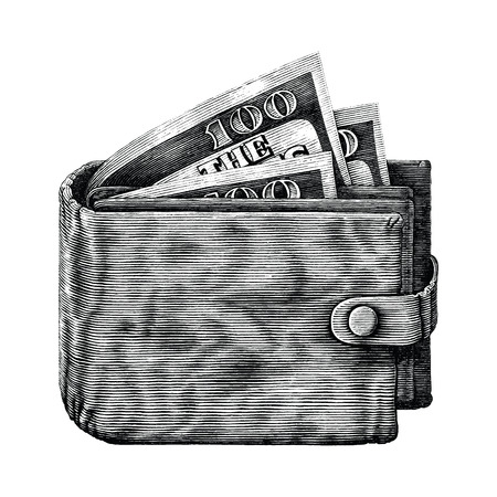 Wallet with full money hand draw vintage engraving isoleted on white background