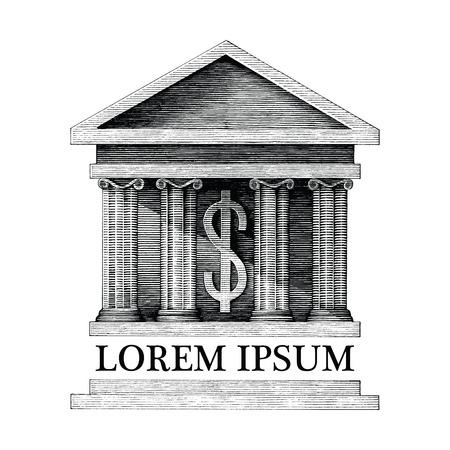 Ilustración antigua de estilo de grabado vintage de banco aislado sobre fondo blanco.