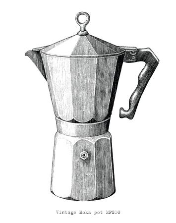 Gravure ancienne illustration de Moka pot clip art noir et blanc isolé sur fond blanc Vecteurs