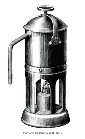 Antique engraving illustration of Espresso maker black and white clip art isolated on white background Standard-Bild - 119341981