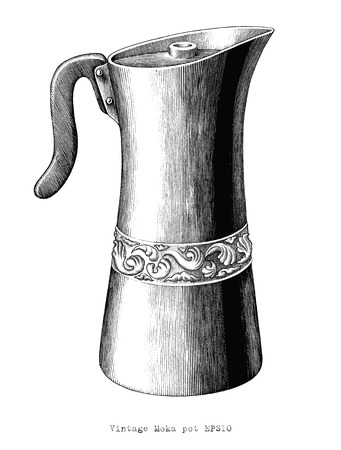 Antique engraving illustration of Moka pot black and white clip art isolated on white background