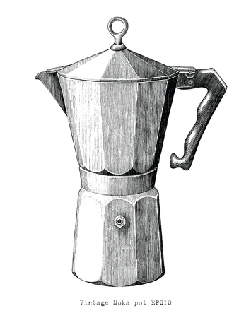 Antique engraving illustration of Moka pot black and white clip art isolated on white background Standard-Bild - 119341983