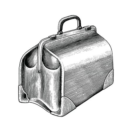 Vintage medical bag hand draw black and white clip art isolated on white background