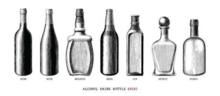 Alcohol drink bottle collection hand draw vintage style black and white clipart isolated on white background