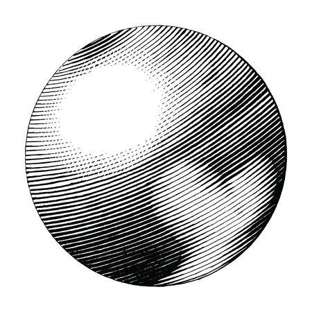 Pluto hand drawing vintage style black and white clipart isolated on white background. The planet in solar system Illustration