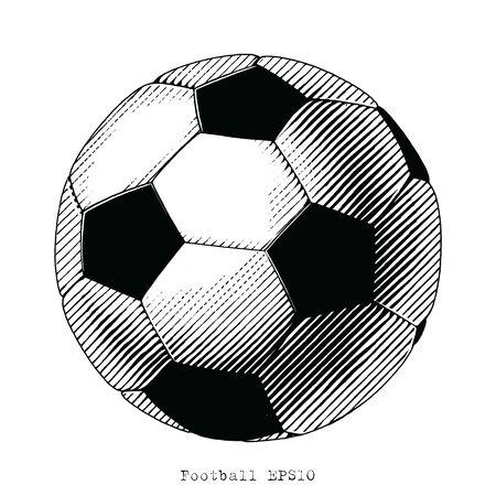 Football hand draw vinatge style black and white clip art isolated on white background Illustration