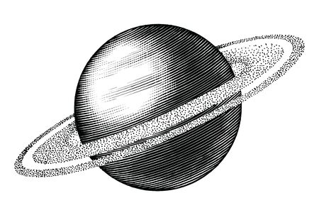 Saturn hand drawing vintage style black and white clipart isolated on white background. The sixth planet from the Sun 向量圖像