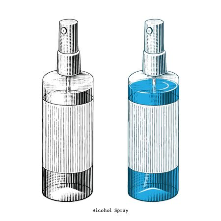 Alcohol spray hand draw vintage style clip art isolated on white background