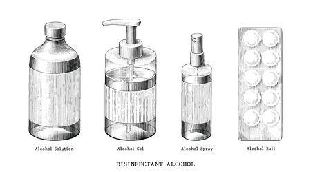 Disinfectant alcohol set hand draw vintage style black and white clip art isolated on white background