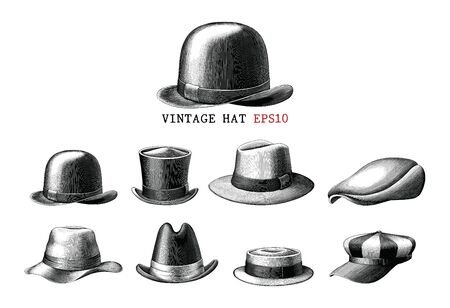 Vintage hat collection  hand draw engraving style black and white clipart isolated on white background Illustration
