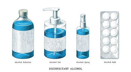 Disinfectant alcohol set hand draw vintage style clip art isolated on white background