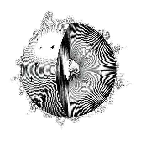 The sun hand drawing vintage style black and white clipart isolated on white background,Component of sun illustration
