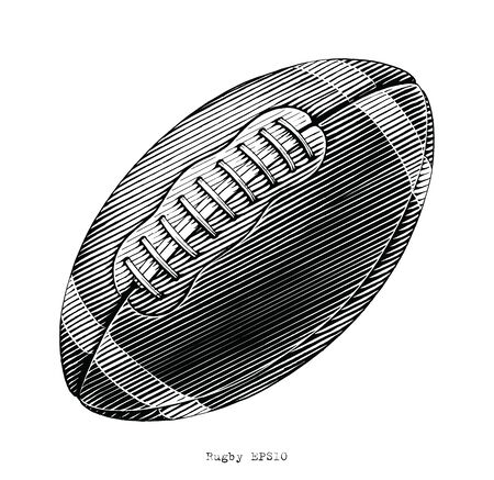 Rugby hand draw vinatge style black and white clip art isolated on white background