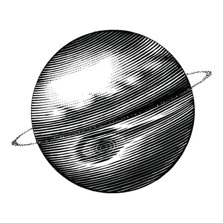 Jupiter hand drawing vintage style black and white clipart isolated on white background. The fifth planet from the Sun 向量圖像