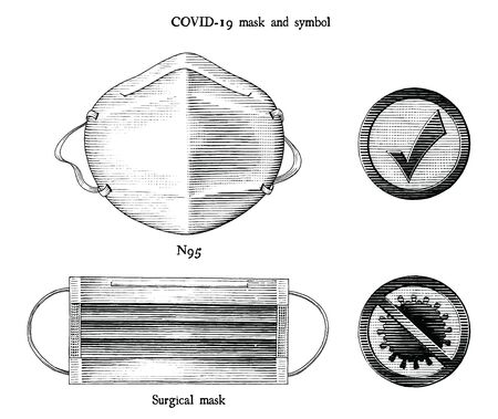Mask for prevent Coronavirus disease 2019 (COVID-19) and relate symbol engraving illustration vintage style black and white clipart isolated on white background