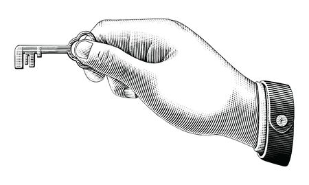 Human hand holding key drawing vintage style black and white clip art isolated on white background
