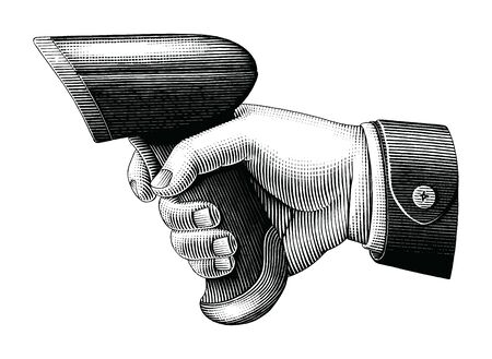 Hand holding barcode scanner drawing vintage style black and white clip art isolated on white background Illustration