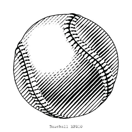 Baseball hand draw vinatge style black and white clip art isolated on white background