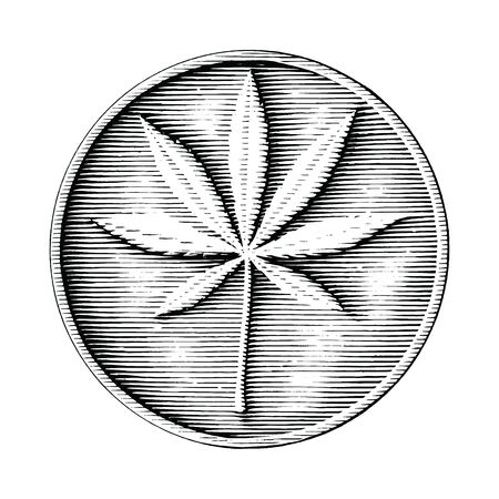 Cannabis logo hand drawing in coin style black and white clipart isolated on white background