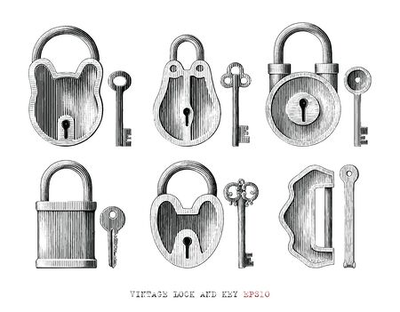 Vintage lock and key collection hand draw engraving style black and white clipart isolated on white background