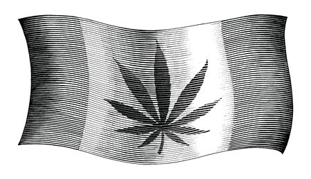 Cannabis day flag hand drawing vintage style black and white clipart isolated on white background
