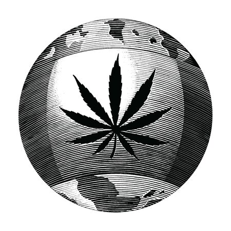 Cannabis day logo hand drawing vintage style black and white clipart isolated on white background. The cannabis flag surrounds the world