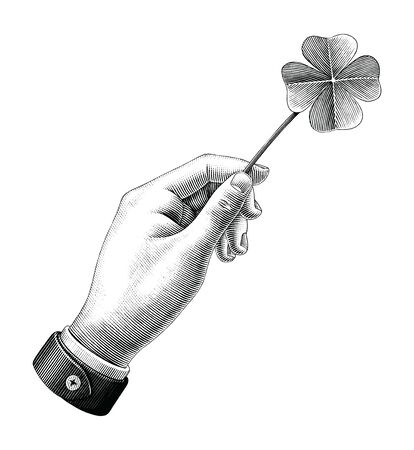 Hand hold clover leaf drawing vintage style black and white clipart isolated on white background Illustration