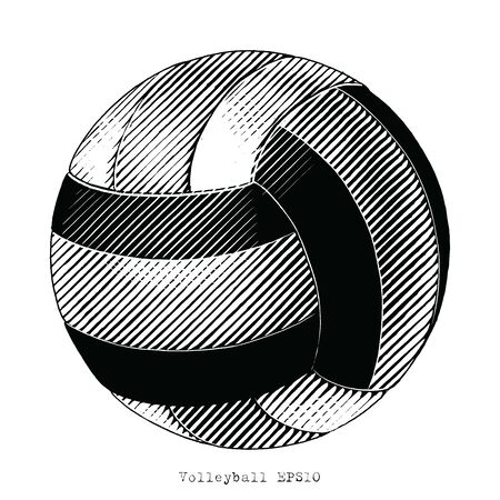 Volleyball hand draw vintage style black and white clip art isolated on white background Illustration