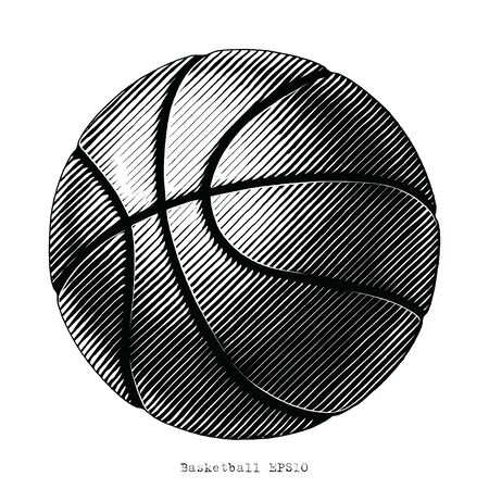 Basketball hand draw vinatge style black and white clip art isolated on white background