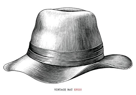 Vintage hat  hand draw engraving style black and white clipart isolated on white background