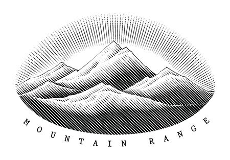 Mountain range hand draw vintage style black and white clipart isolated on white background, The concept of Mountain range