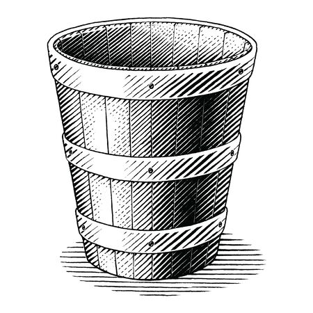 Antique engraving illustration of basket hand draw vintage style black and white clip art isolated on white background