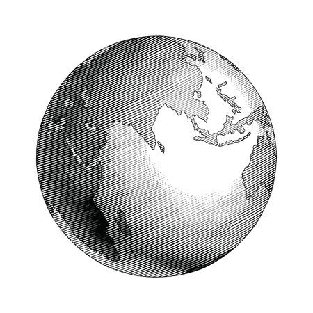 Antique globe hand drawing vintage style black and white clip art isolated on white background Illustration