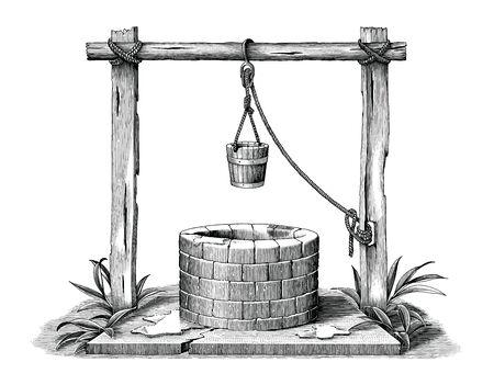 Vintage engraving illustration of pond black and white clip art isolated on white background