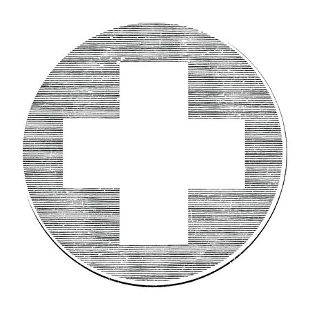 Medical cross hand draw vintage style black and white clip art isolated on white background,International medical cross symbol