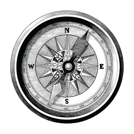 Antique engraving illustration of vintage compass black and white clip art isolated on white background,Compass of travel and sea way Illustration