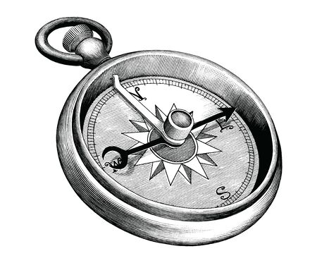 Antique engraving illustration of Compass black and white clip art isolated on white background Illustration