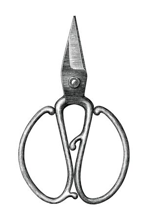 Antique scissors hand draw vintage style black and white clip art isolated on white background,Vintage scissors rare item