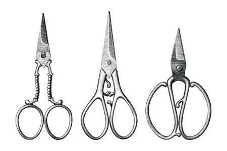 Collection of antique scissors hand draw vintage style black and white clip art isolated on white background,Vintage scissors rare item Illustration