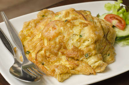 Omelet with chopped shrimp