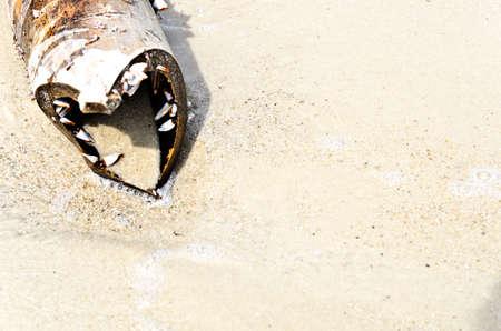 Bamboo heart on the sand beach