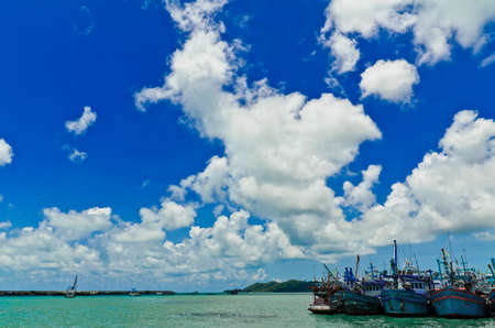 the firmament: Fishing boat and cloud sea Stock Photo