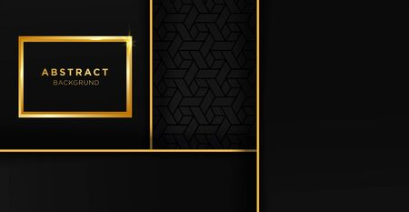 Black and gold luxury template background with ornament, can be used for premium wedding invitation, banner, golden flyer.